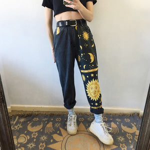 dropshipping women ladies printed pants trousers jeans - YR.SOOQ