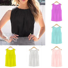 Load image into Gallery viewer, dropshipping women ladies chiffon sleeveless blouse - YR.SOOQ