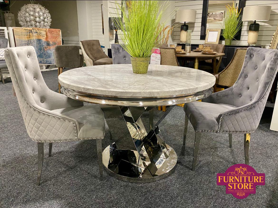 Sylvia Dining Table 1.2m - Round with 4 Belvedere Chairs