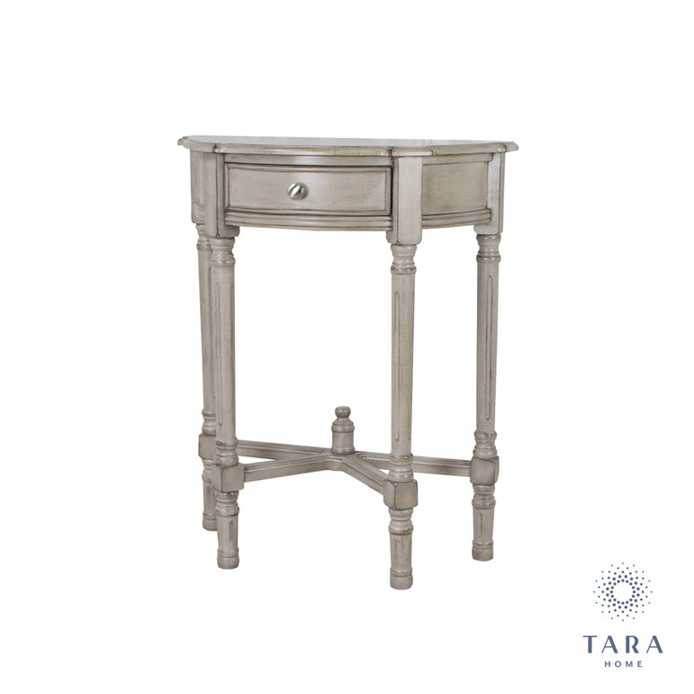 OYSTER GREY 1 DRW HALF MOON CONSOLE TABLE
