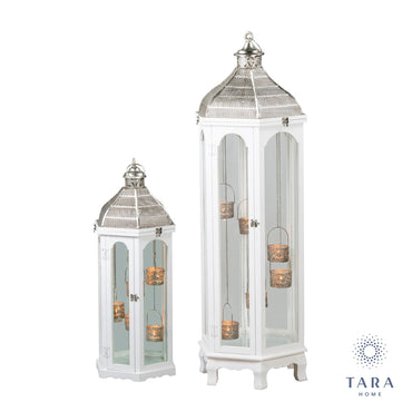 AGADIR S/2 HEX LANTERNS WHITE