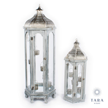 AGADIR S/2 HEX LANTERNS GREY