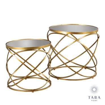 SPIRALS S/2 SIDE TABLES WITH MIRROR GOLD
