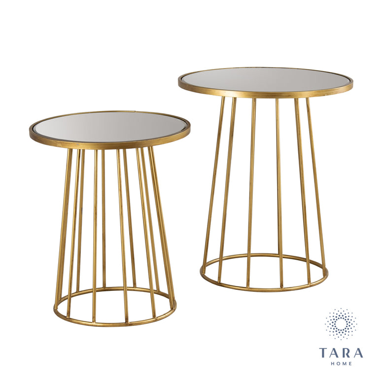 TRINITY S/2 RND TABLES WITH MIRROR GOLD
