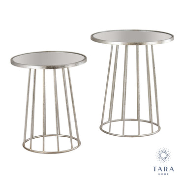 TRINITY S/2 RND TABLES WITH MIRROR SILVER