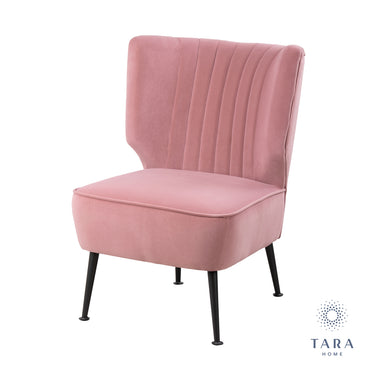 EASTON ACCENT CHAIR BLUSH PINK VELVET