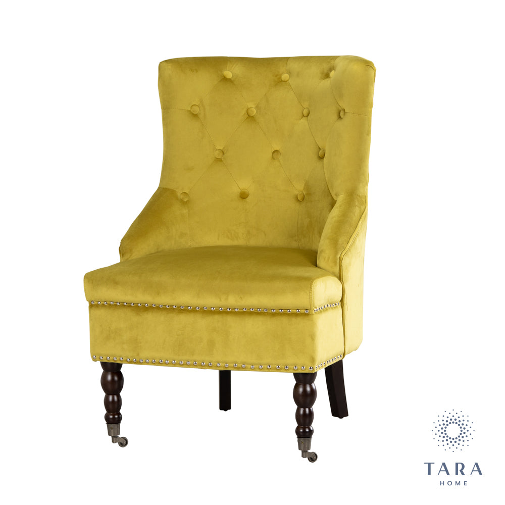 TORINO ACCENT CHAIR MUSTARD SMOOTH VELVET