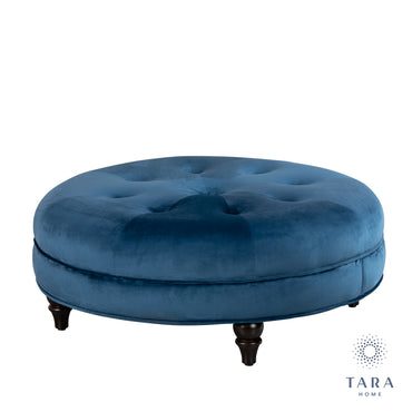 TORINO OTTOMAN RND ROYAL BLUE SMOOTH VELVET