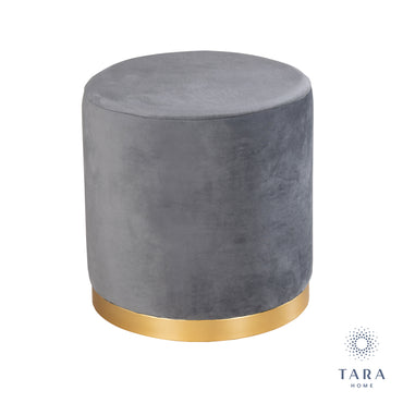 SMOOTH VELVET CHARCOAL GREY GOLD RIMMED STOOL