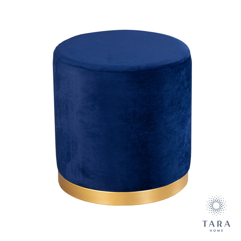 SMOOTH VELVET ROYAL BLUE GOLD RIMMED STOOL