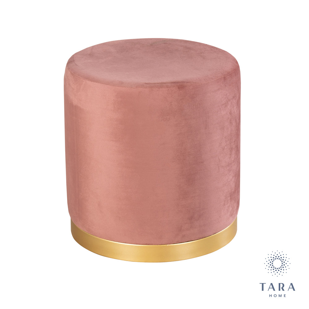 SMOOTH VELVET BLUSH PINK GOLD RIMMED STOOL