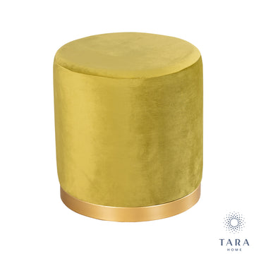 SMOOTH VELVET MUSTARD GOLD RIMMED STOOL