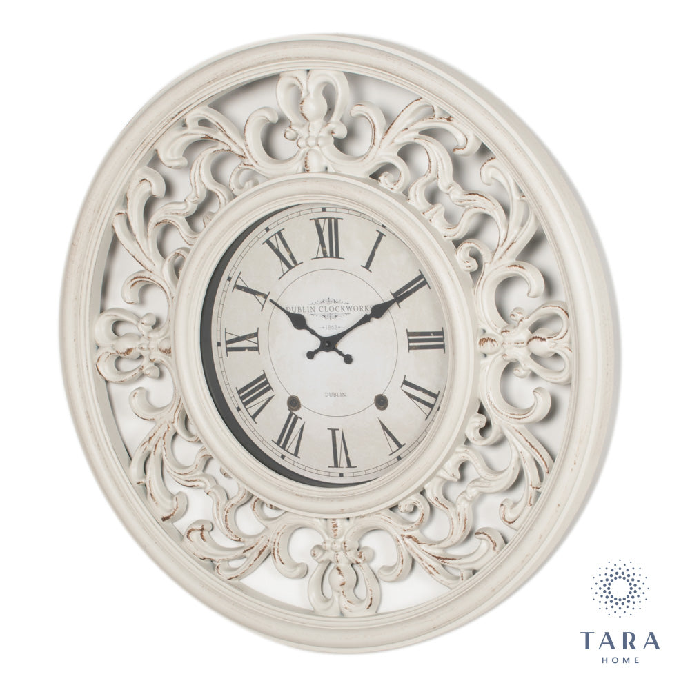 ORNATE CLOCK 65CM ANTIQUE WHITE