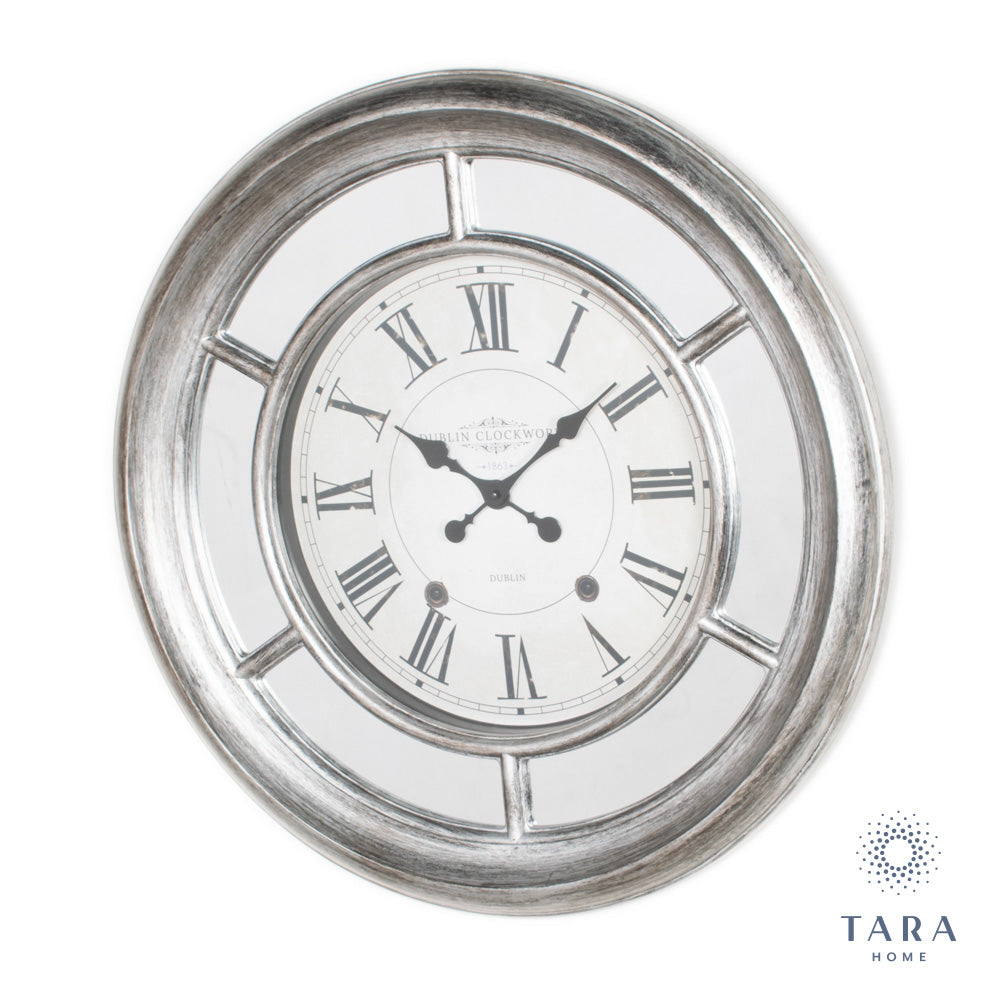BELLA MIRRORED CLOCK 65CM ANTIQUE SILVER