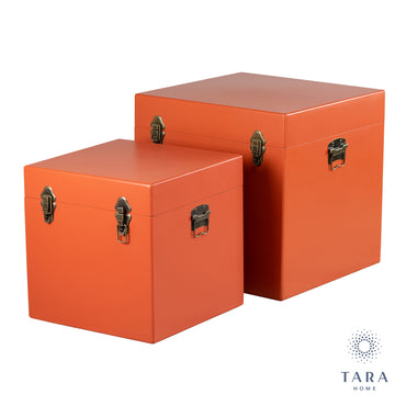 S/2 STELLA TRUNKS SQUARE SIGNAL ORANGE