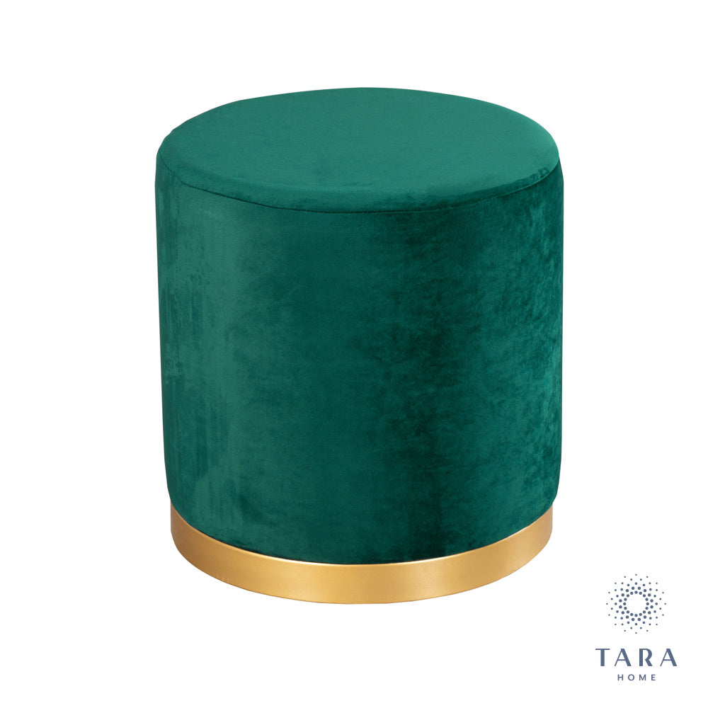 SMOOTH VELVET GREEN GOLD RIMMED STOOL