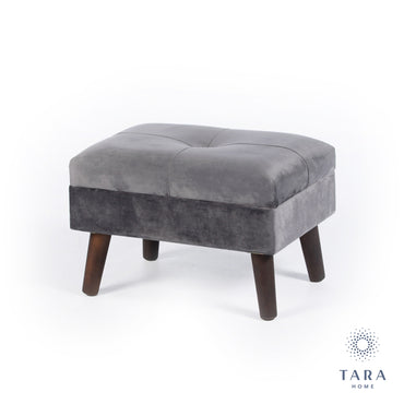 SMOOTH VELVET FOOTSTOOL GREY