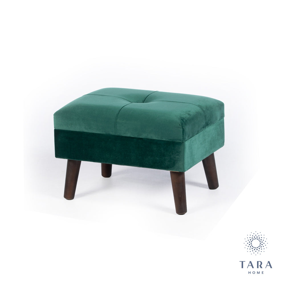 SMOOTH VELVET FOOTSTOOL GREEN