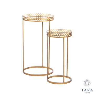 RIDGLEY S/2 MIRRORED ACCENT TABLES ROUND GOLD