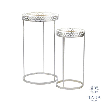 RIDGLEY S/2 MIRRORED ACCENT TABLES ROUND SILV