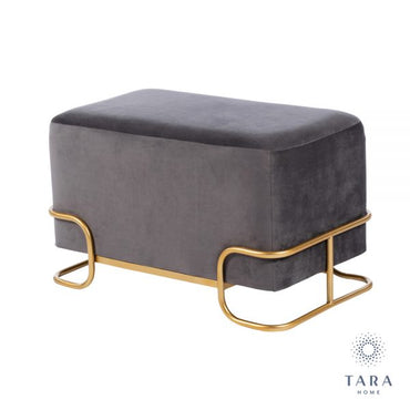TIVOLI CHARCOAL GREY VELVET STOOL W/GOLD LEGS
