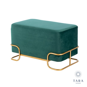 TIVOLI EMERALD GREEN VELVET STOOL W/GOLD LEGS