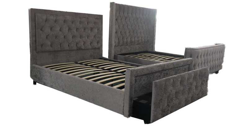 Carolina Storage Bed Grey King