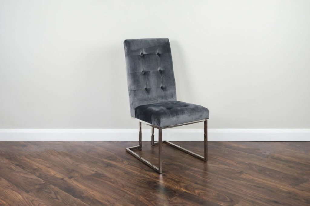 Sylvia - Dining Chair - Button Back - Grey (Y66B)