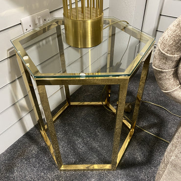 Hexagon Gold Metal End Table - Floor Model