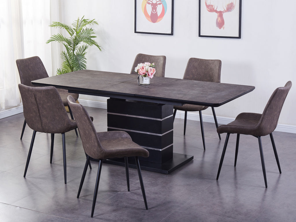 Imperia Dark Brown Tufftop Extending Dining Table and 6 Chairs