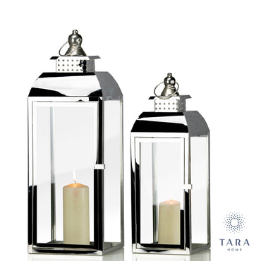 S/2 TIFFANY CHROME LANTERNS