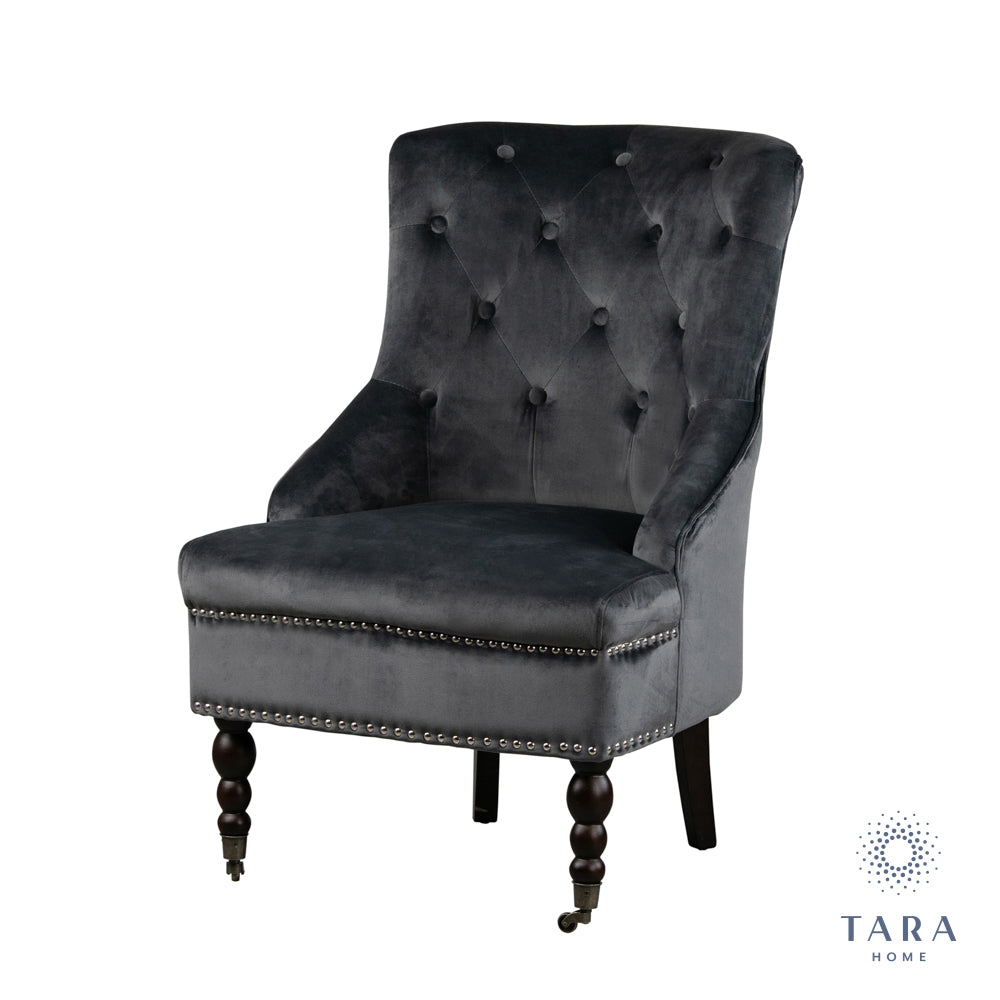 TORINO ACCENT CHAIR GREY SMOOTH VELV