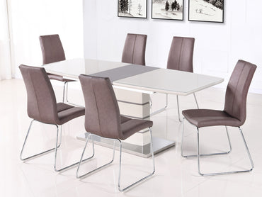 Toscana Champagne Glass Top Extending Dining Table and 6 Chair