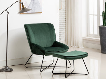 Teagan Velvet Fabric Chair and Footstool