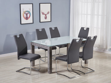 Tivoli Dining Table and Claren Grey Chairs - Glass and Concrete Effect