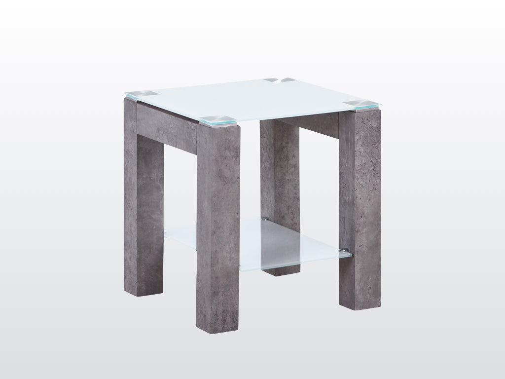 Tivoli End Table - Glass and Concrete Effect