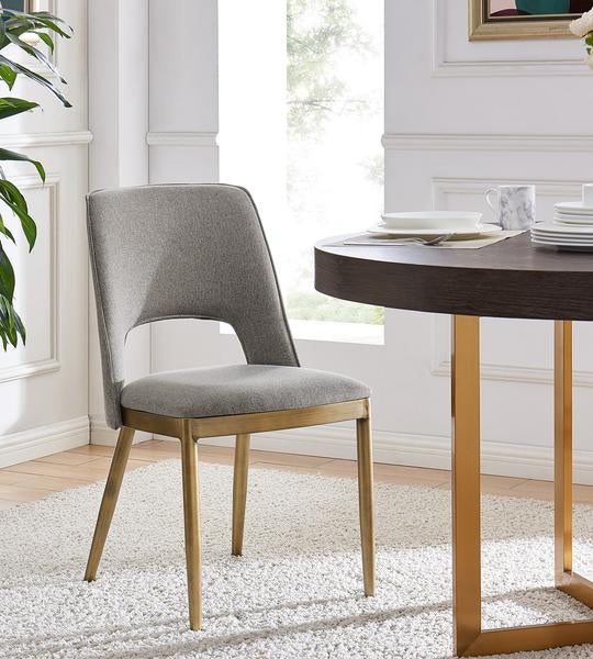 Morgan Dining Chair - Brass/ Beige Linen