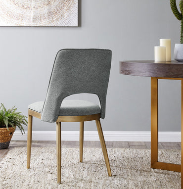 Morgan Dining Chair - Brass/ Grey Linen