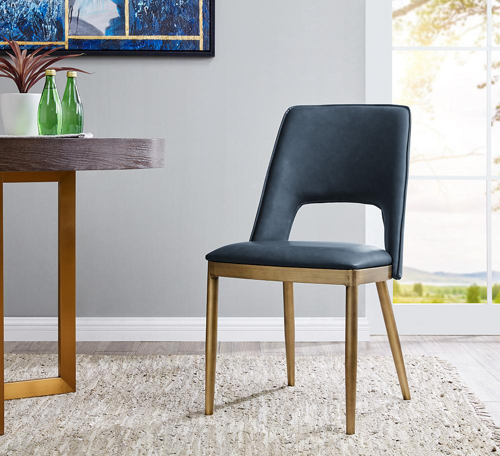 Morgan Dining Chair - Brass/ Night Blue Faux Leather