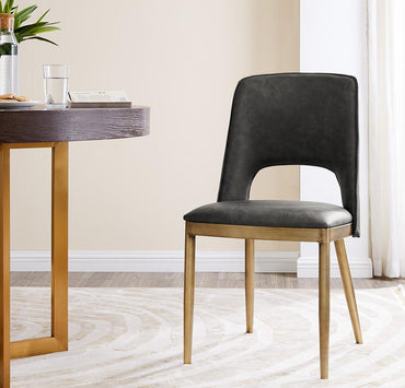 Morgan Dining Chair - Brass/ Vintage Grey Faux Leather