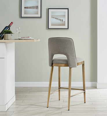 Ella Bar Stool - Brass/ Beige Linen