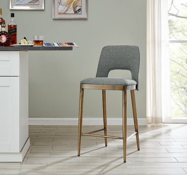 Morgan Bar Stool - Brass/ Grey Linen