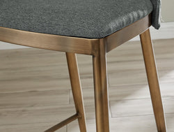 Ella Bar Stool - Brass/ Grey Linen