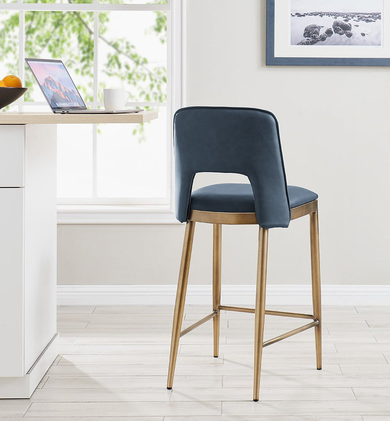 Morgan Bar Stool - Brass/ Night Blue Faux Leather