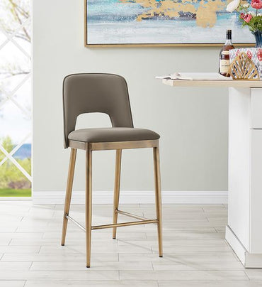 Morgan Bar Stool - Brass/ Vintage Taupe Faux Leather