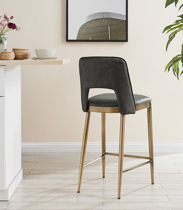 Ella Bar Stool  - Brass/ Vintage Grey Faux Leather
