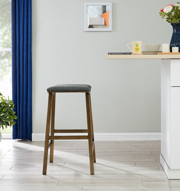 Dixon Bar Stool - Brass/ Grey Linen