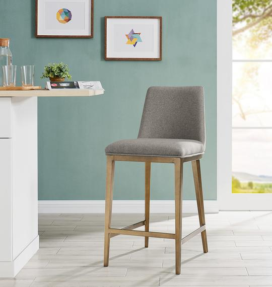 Bay Bar Stool Brass/ Beige Linen