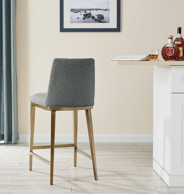Bay Bar Stool Brass/ Grey Linen