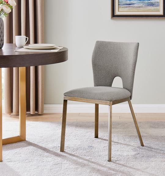 Ella Dining Chair - Brass/ Beige Linen